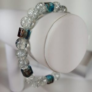 B16 Smokey Blu, Brwn, Glass Bead Stretch Bracelet